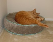 Made to Order Round Cat Bed from Upholstery Velvet