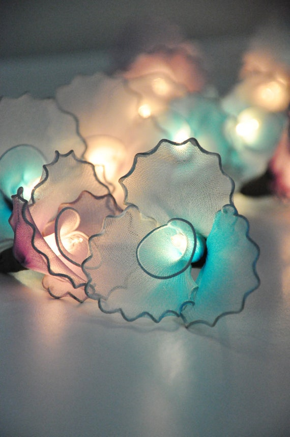 Pink and Blue flower string lights for party and decoration