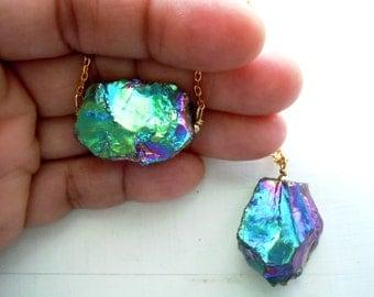 Rainbow Quartz Necklace - Titanium Rainbow Crystal Nugget - Long Chain Necklace