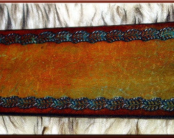 FOREST LEAF BORDER Design • A Beautifully Hand Tooled, Hand Crafted Leather Guitar Strap
