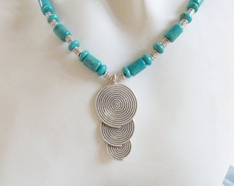 Hill Tribe Silver Circles with Turquoise Necklace