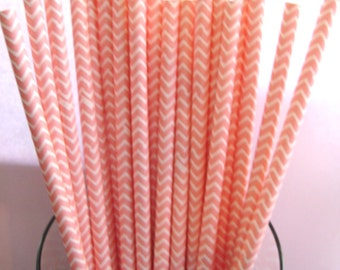 25 Light Pink & White Chevron Striped Party Paper Drinking Straws A214
