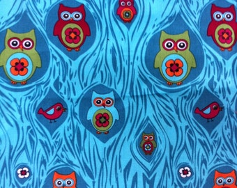 Happy OWLS New Peeping Owls Print 100% Cotton Fabric One Yard Springs Creative Design 2 1/4 Yards Available