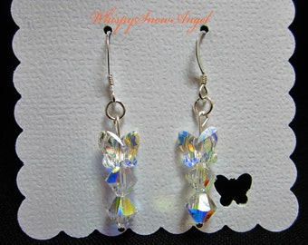 Butterfly Swarovski and Bicone Dangle Earrings Sterling Silver