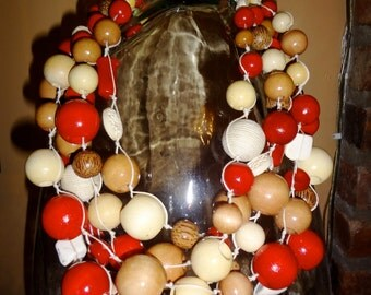 Handmade Multi strand, Red and company ( beige, black,brown, cream) statement  necklace