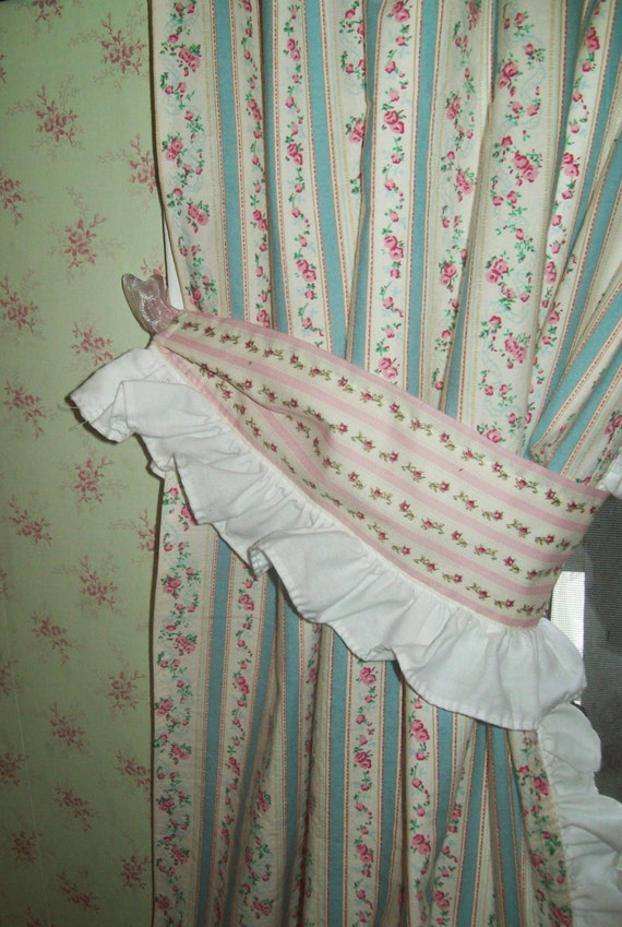 Cottage Curtains Cafe Curtains Pink Aqua Rose Curtains Shabby