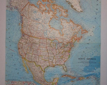 """Beautiful Large Colorful Wall Map 24""""x19"""" North America Vintage 1964  National Geographic Folded"""