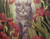 EXAMPLE PET PORTRAIT commission cat silver tabby with garden iris flowers backlit by sunlight
