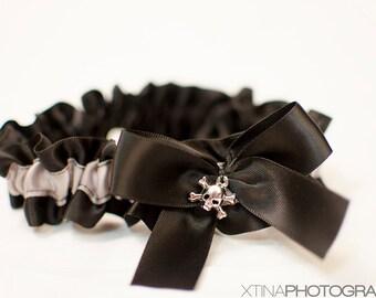 Bridal Garter Rockabilly Black & Gray Silver Skull Embellished Satin Wedding Keepsake Or Garter Set