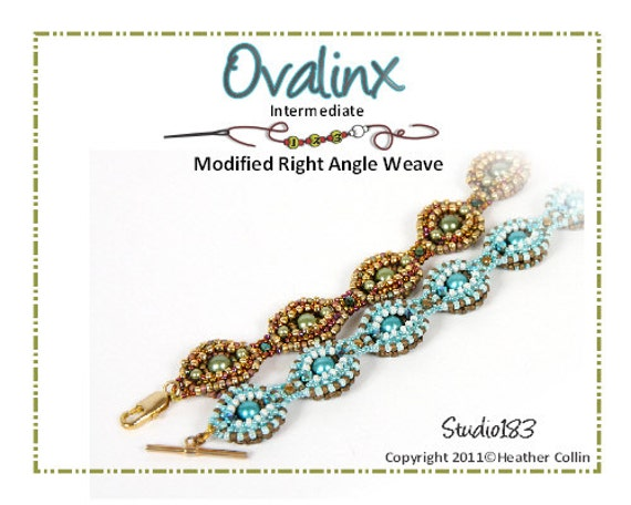 Beading Pattern Right Angle Weave 2-Way Ovals Reverseable  Bracelet  Beading Tutorial OVALINX