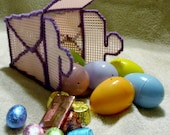 Pink Plastic Canvas Chinese Take Out Container With Six Candy Filled Easter Eggs