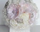 10 Inches Vintage Bridal Brooch Bouquet Pearl Rhinestone Crystal Silver Peach Pink Ivory Light Cream Chiffon Rose BB027LX