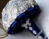 Bridal Brooch Bouquet Pearl Rhinestone Crystal Silver Royal Dark Blue Vintage Luxury Shining Like Diamond - BB030LX