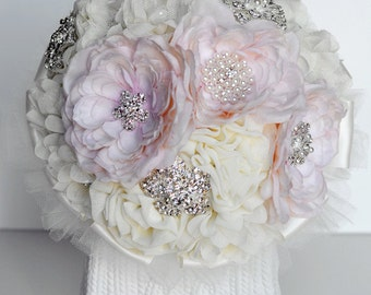 10 Inches Vintage Bridal Brooch Bouquet Pearl Rhinestone Crystal Silver Peach Pink Ivory Light Cream Chiffon Rose BB027LX