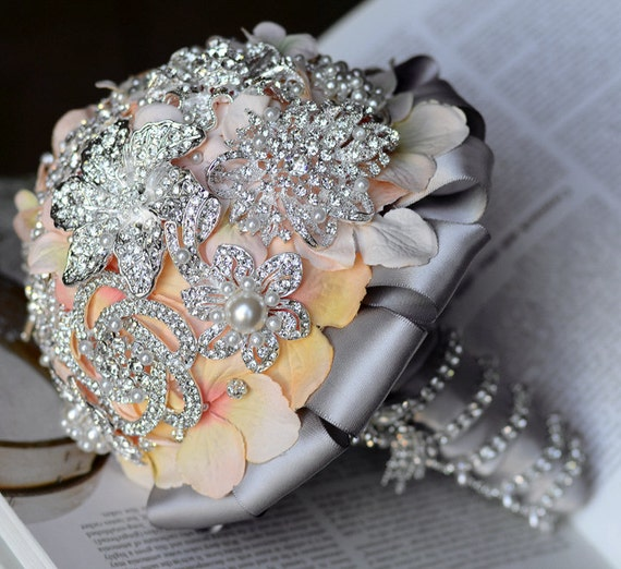 Vintage Bridal Brooch Bouquet - Pearl Rhinestone Crystal - Silver Peach Pink Grey - One Day RUSH ORDER Available - BB001LX