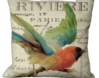 Pretty Bird on French Invoice in Choice of 14x14 16x16 18x18 20x20 22x22 24x24 26x26 inch Pillow Cover
