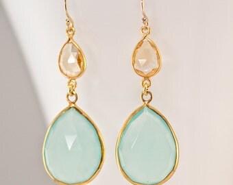 Aqua Blue Chalcedony Earrings - Citrine earrings - Gemstone earrings - Dangle Earrings - Gold Earrings - Long Earrings
