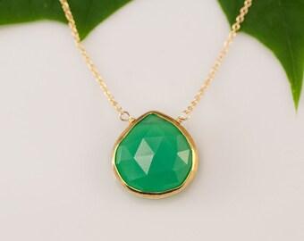 Chrysoprase Necklace - 14k Gold Filled Chain - bezel set necklace - gemstone necklace - Gold necklace -