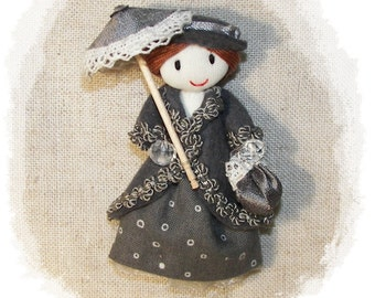 Handmade Felt Brooch Lady In Grey  Hat And Coat Pin 3.2 in -  8 cm Customizable