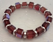 Ameythst stretch bracelet square celestial crystals silver plated beads Febuary birthstone