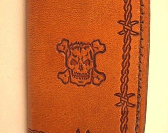Hand Tooled Leather Credit Card Wallet or Business Card Holder- Skulls with Barbed Wire