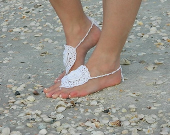 Flower Barefoot Sandals, Barefoot Bride, Wedding Sandals, Yoga Sandals, Beach Footwear, Foot Jewelry, Vintage Bride, Beach Wedding