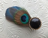 Feather Clip, Fascinator, Hair, Hat, Blazer, Peacock, Blue, Boho, Bohemian, Exotic, Natural