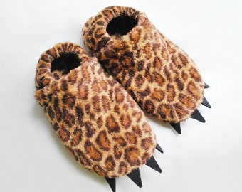 Leopard Slippers with Claws - Kid's sizes - Jaguar slippers for girls and boys