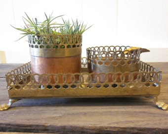 Mid Century copper and Brass Smoking Set Tray Cigerette Holder Ashtray Tobacciana / Desk Set