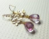 Dangle Earrings, Czech Glass Beads, Drop Earrings, Crystal Copper Picasso, Flower Connector, Women's Jewelry