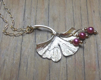 Ginkgo Leaf Charm Necklace, Gold Charm Necklace, Vintage glass Beads, Womens Jewelry