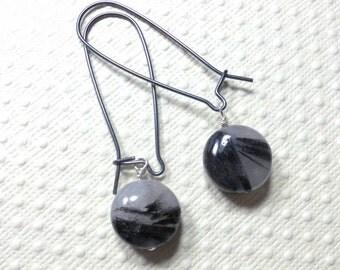 Dangle Earrings, Tourmalated Quartz Earrings, Drop Earrings, Sterling Silver, Coin Beads, Women's Jewelry