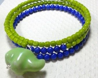 Czech Glass Memory Wire Bracelet, Green and Blue Bracelet , Elephant Charm, Elephant Jewelry