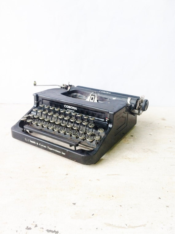 Vintage Smith and Corona Typewriter Black Compact Size