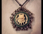Antique Brass Cameo Necklace, Kermeo in Swamp Green
