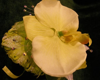 OOAK Phaeleonpsis Orchid Wrist Corsage, Lime Green, Rhinestones, Homecoming, Wedding, Prom