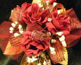 OOAK Red Rose Babies Breath Rhinestone Wrist Corsage, Prom, Valentines Day, Mother, Wedding