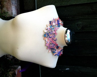 Butterfly Statement Bib Necklace in Purple and Blue