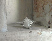Snow White- raw rough diamond - 14 k gold one of a kind ring-spiderweb style-Made to order