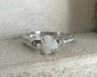 14 k white gold- mounted raw rough diamond - solitaire-promise- engagement ring