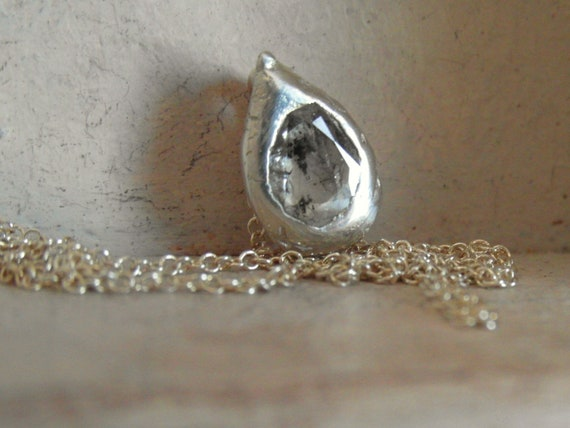handcrafted- rose cut  diamond pendant necklace- sterling silver-one of a kind piece
