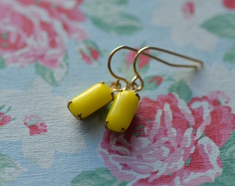 Yellow  Earrings Vintage Glass  Rectangle Opaque Dangle  Wedding Bride Bridesmaid Simple Elegant Tiny Small Summer Spring Bright Cheerful