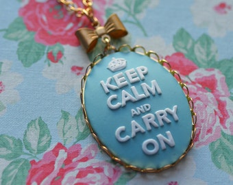 Keep Calm Necklace Carry On Baby Blue White Charm Pendant Saying Brass Bow Gold Plated Chain 24 Inches Longer Necklace