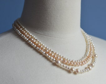Sale Pearl Necklace Winter Wedding Three Strand White Pale Pink Fresh Water Pearls Sterling Silver Bead Weddings Brides Bridesmaids Prom