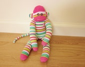 Watermelon sock monkey - pink, green, and white stripes with pink heart