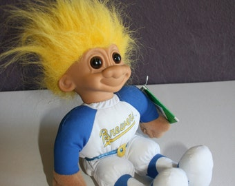 Rare Vintage MLB Milwaukee Brewers Baseball Good Luck Troll 1991