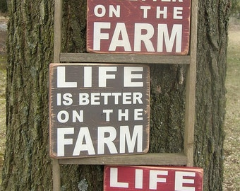 Life Is Better On The Farm Distressed Wood Sign