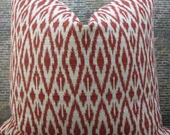 Designer Pillow Cover - Lumbar, 18 x 18, 20 x 20, 22 x 22, 24 x 24- Amazon Ikat Red
