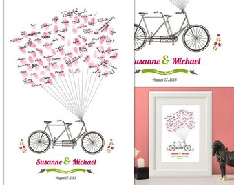 Wedding Tandem/ Bicycle Guest Book - Fingerprint -  Thumb Tree - poster & ink pad