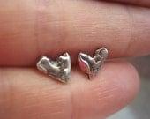 Earring Rustic Sterling Silver artisan Heart Charm Stud Post